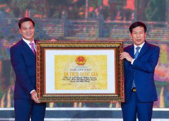 Toàn cảnh lễ đón nhận bằng xếp hạng di tích lịch sử quốc gia tại khu di tích Bạch Đằng Giang